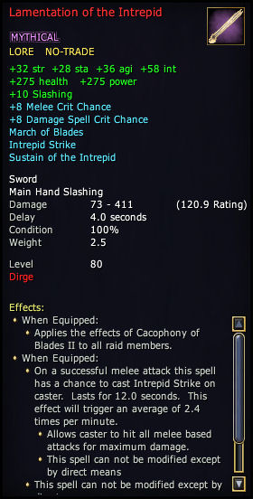 Lamentation of the Intrepid: Dirge Epic Weapon